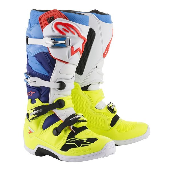 Alpinestars Tech 7 Yellow Fluo/White/Blue/Cyan