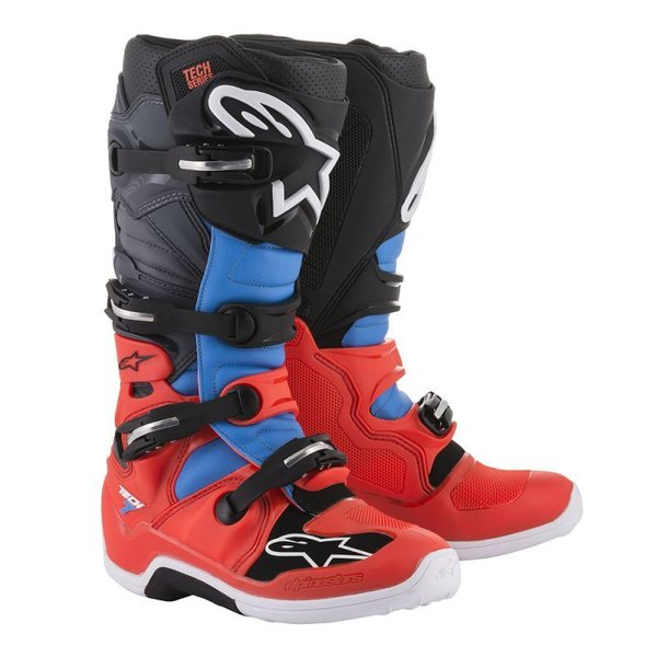 Alpinestars Tech 7 Red Fluo/Cyan/Gray/Black