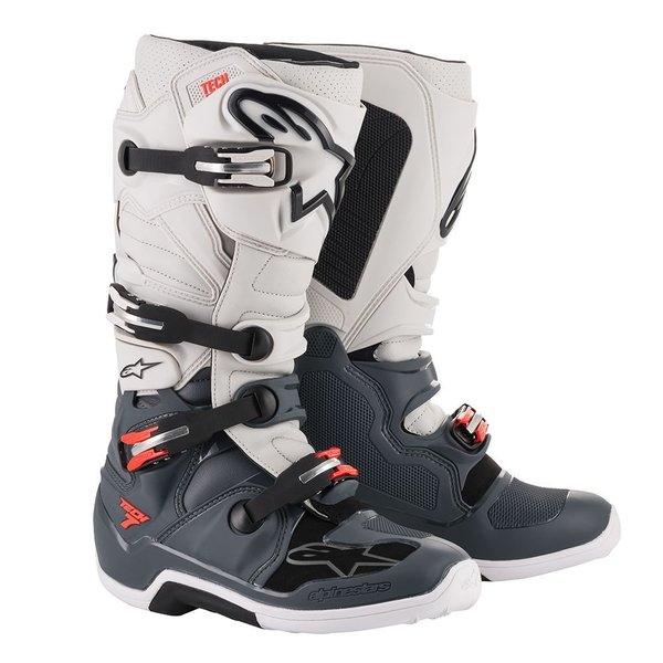 Alpinestars Tech 7 Dark Gray/Light Gray/Red Fluo