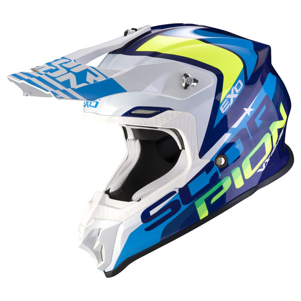 Scorpion EXO EVO VX 16 Helm Nation Blue White/ Neonyellow