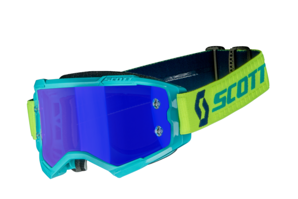 Scott Fury MX Brille Teal Blue/Neon Yellow Electric Blue Chrome Works