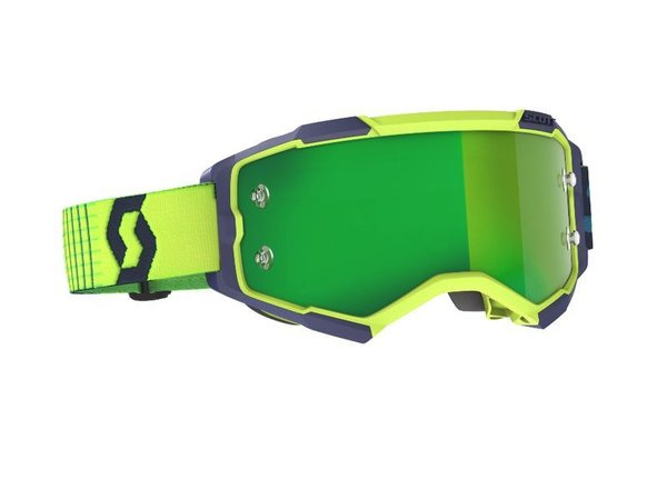 Scott Fury MX Brille Blue/Yellow Green Chrome Works