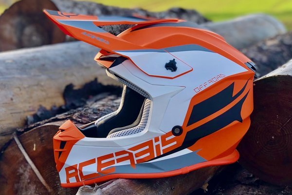 Acerbis MX Helm Linear Orange/Weiss
